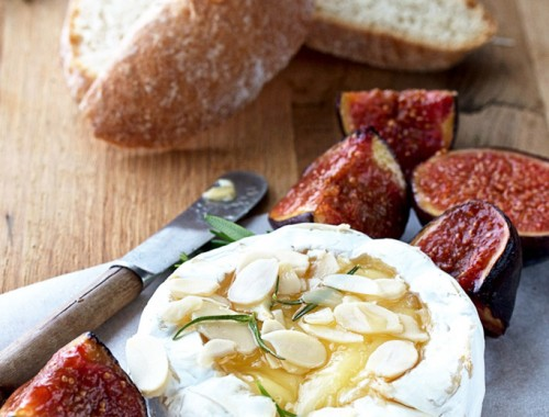 Warmed camembert and figs