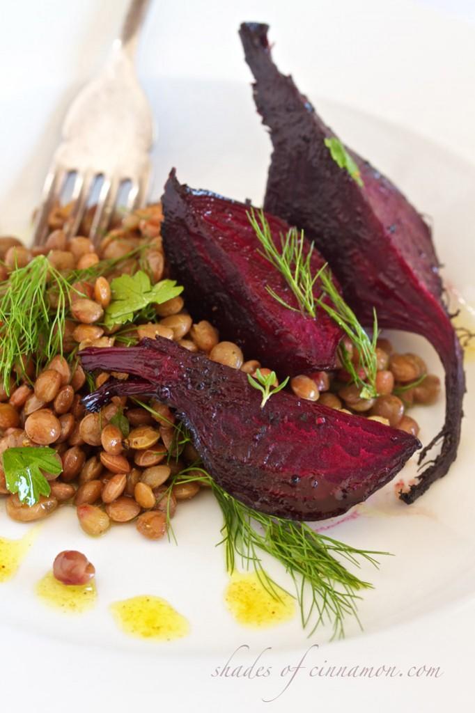 Beetroot and lentil salad