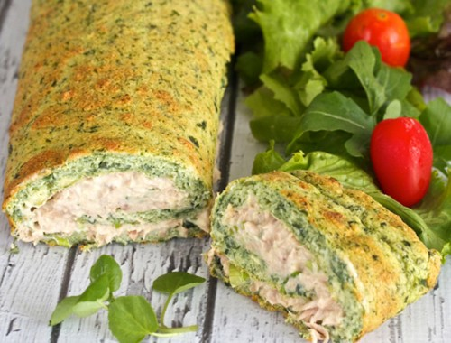 Spinach and tuna roulade