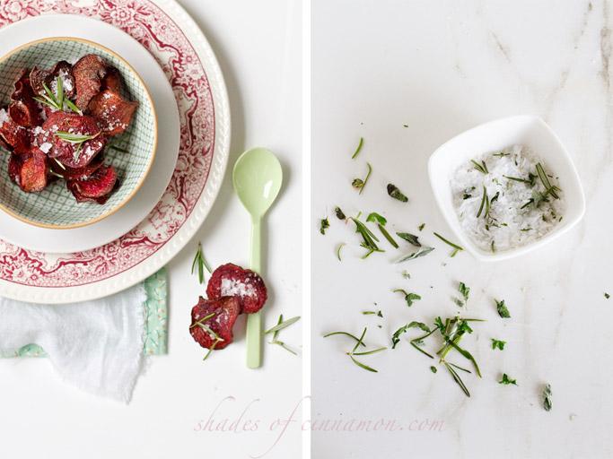 beet crisps and flavoured salt