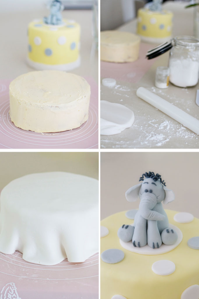 Making a baby shower cake