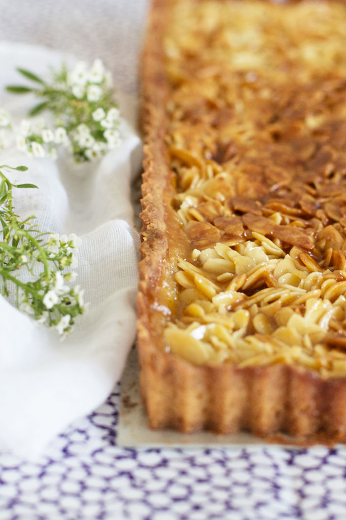 Caramalised almond tart