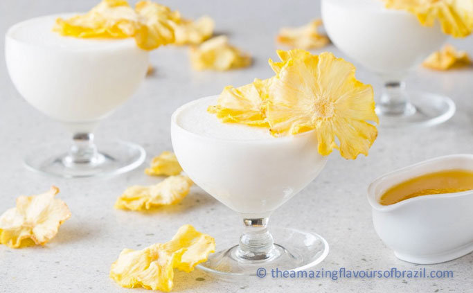 Coconut mousse with pineapple flowers