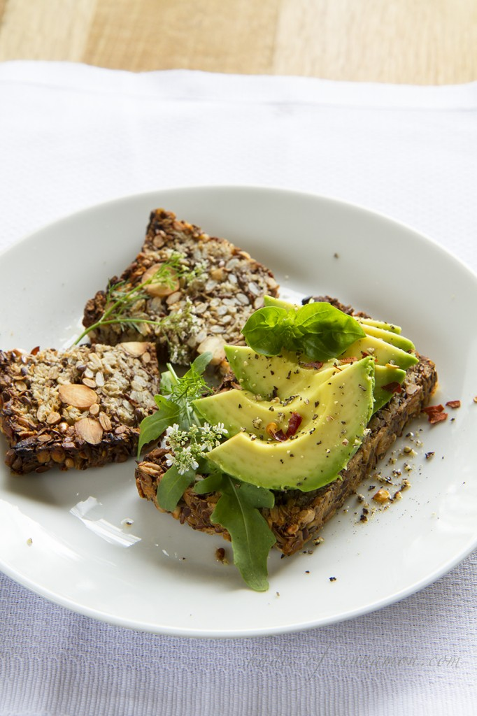 Avocado on nut and seed loaf