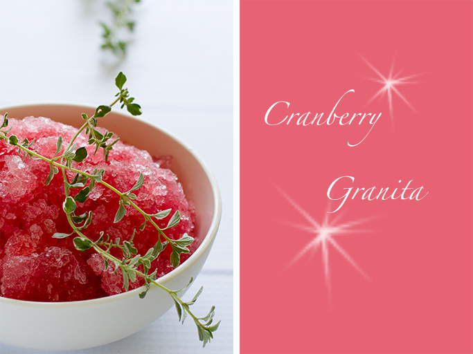 Granita of cranberries