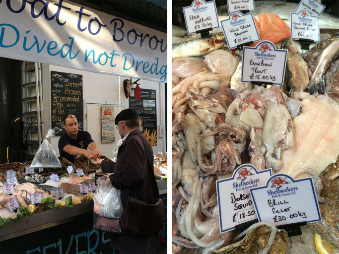 Fish vendor at Borough Market