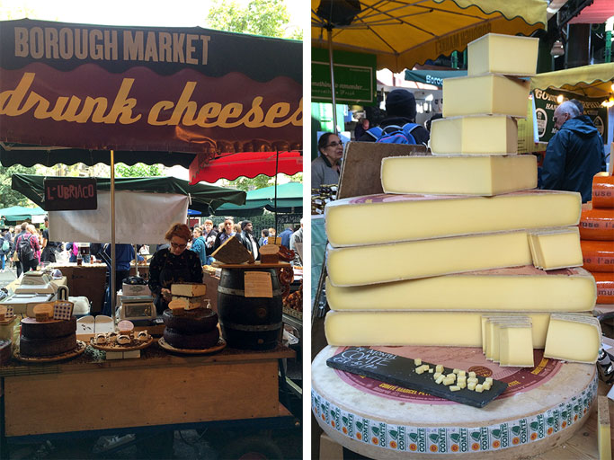 Cheese vendors at Borough Market Lond