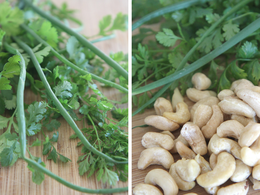 Cashews and salad greens