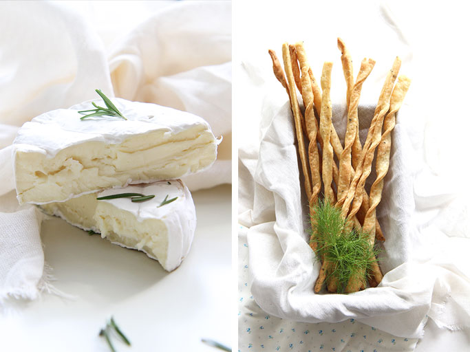Cheese straws with camembert
