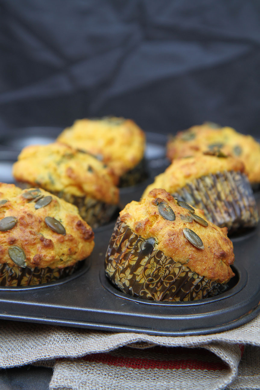 Pumpkin Parmesan and Basil Muffins
