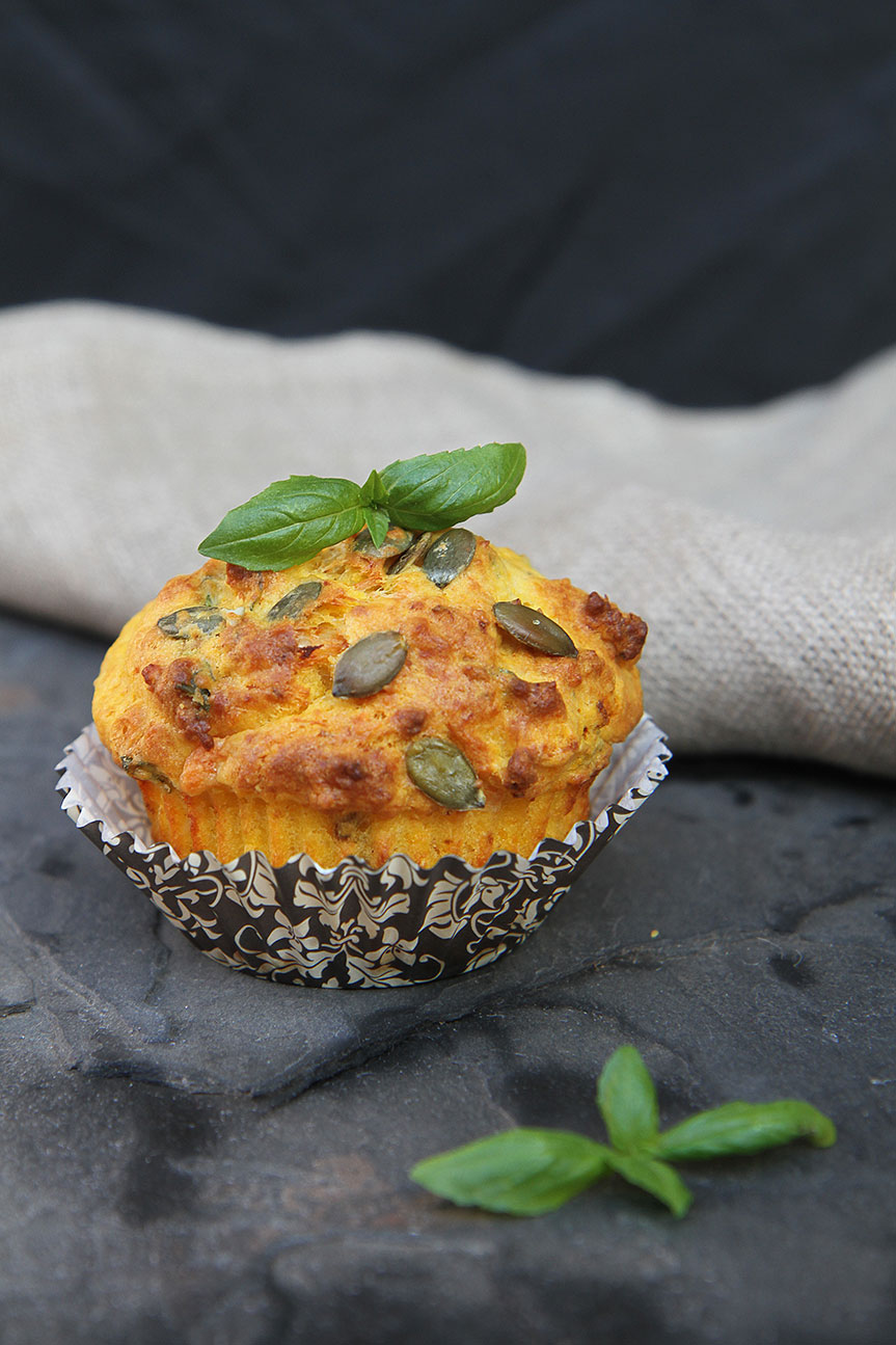 Savoury Pumpkin Basil and Parmesan Muffin
