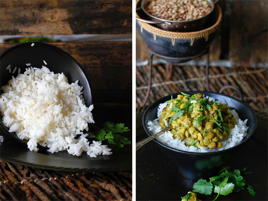 Vegetarian green lentil curry
