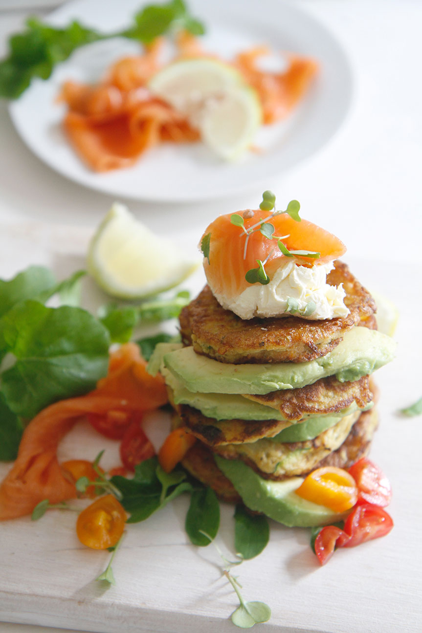 Vegetable fritters stacked