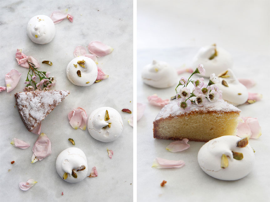 Pistachio and Rosewater meringues