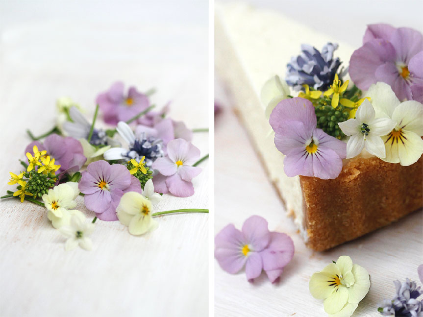edible flowers on cheesecake