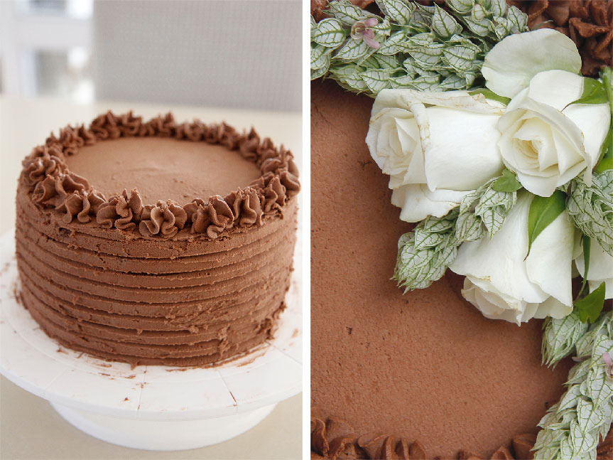 Fresh flowers on a chocolate cake