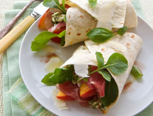Parma ham and peach wrap