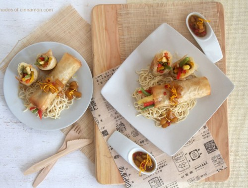 Thai wok vegetable phyllo wraps