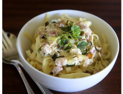 Leek and pancetta pasta