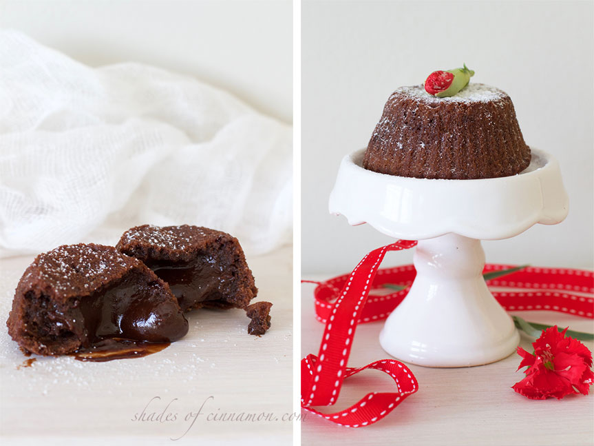 Valentines day chocolate lava cakes
