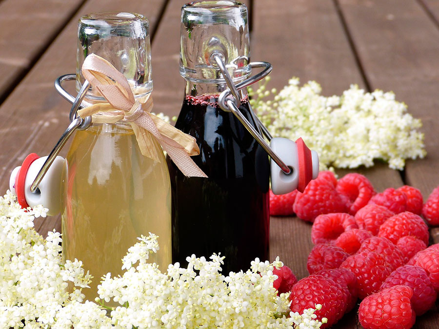 Flower and berry syrups