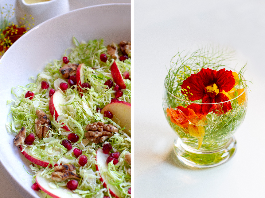 Brussel sprout salad with edible flowers